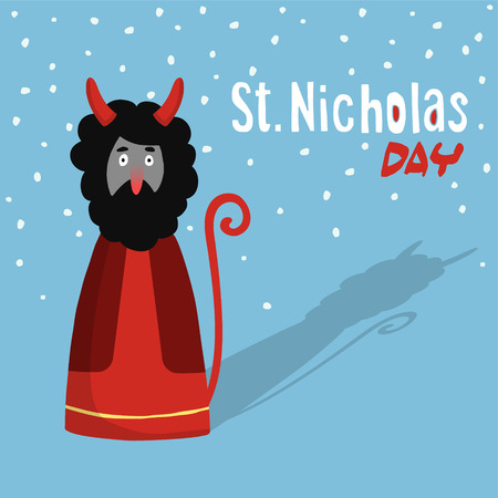 devil: Cute Saint Nicholas day greeting card with devil, flat design, vector illustration