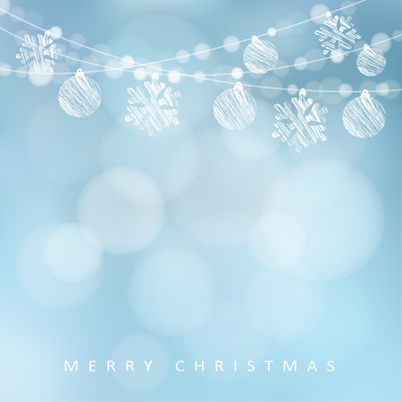 Christmas greeting card with garland of lights, christmas balls and snowflakes, vector illustration background Vectores
