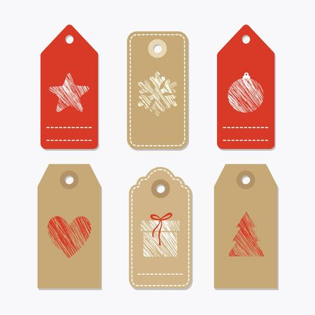 paper tags: Set of cute paper gift tags, labels with textured christmas symbols, isolated vector objects Illustration