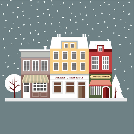 Cute christmas card with houses, winter snowy scene, flat design, vector illustration background