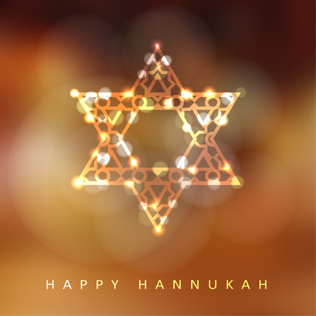 Jewish holiday Hannukah greeting card with ornamental glittering jewish star, vector illustration background