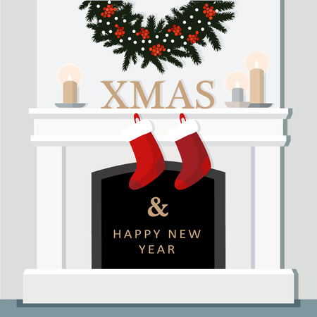 Christmas fireplace, festive decorated interior, home, flat design, vector illustration background Illustration