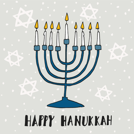 Cute Hanukkah greeting card, invitation with hand drawn menorah (candelabra) and jewish stars, vector illustration background Stock Illustratie