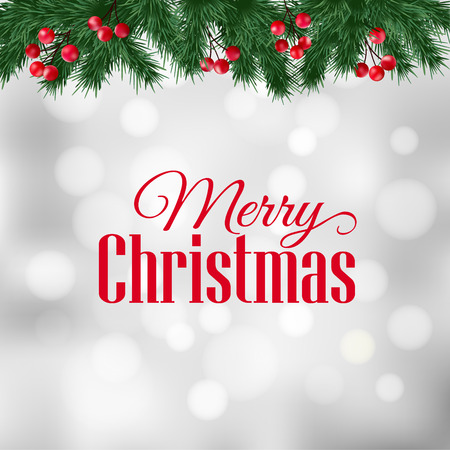 red green: Christmas greeting card, invitation with fir tree branches and holly berries border, blurred background, vector illustration
