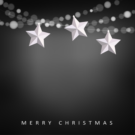 string: Modern christmas greeting card with garland of lights and folded paper stars, vector illustration background