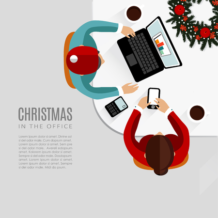 sitting at table: Meeting in the office, Christmas flat design, vector background
