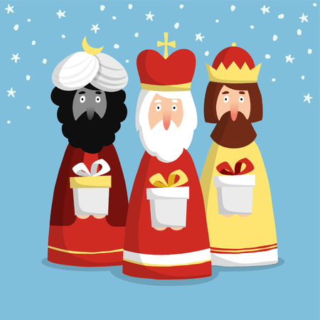 cartoon king: Cute Christmas greeting card, invitation with three kings, flat design, vector illustration background Illustration