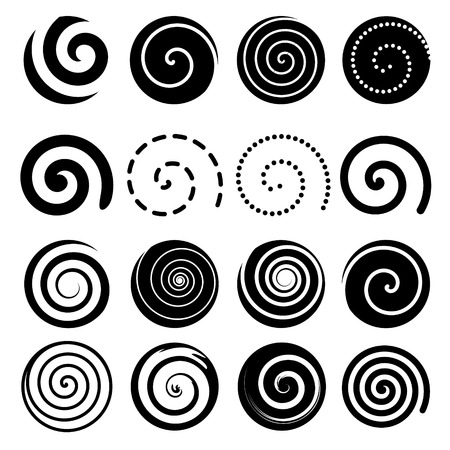 Set of spiral motion elements, black isolated objects, different brush textures, vector illustrations