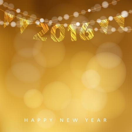 happy new year: Frohes Neues Jahr 2016 Karte mit Kranz von glitzernden Lichtern und Parteifahnen, Vektor-Illustration Hintergrund