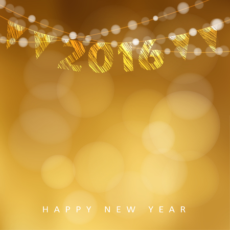 celebration background: Happy New Year 2016 card with garland of glittering lights and party flags, vector illustration background
