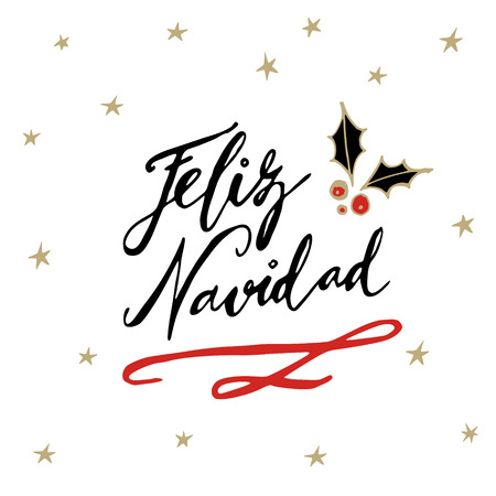 Feliz Navidad, Spanish Merry Christmas greeting card with handwritten text and hand drawn holly and stars, vector illustration Çizim