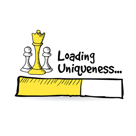 Loading bar s šachové figurky, unikátní nápad pojmu, ojedinělých vektorové ilustrace náčrtu