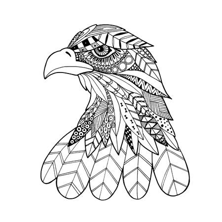 black feather: Ornamental head of eagle bird, trendy ethnic zentangle style illustration, hand drawn isolated vector