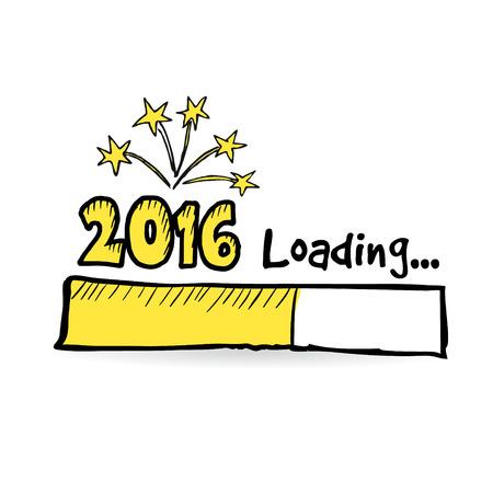 2016 loading bar s ohňostrojem, New Year, výročí nebo koncept strany, vektorové ilustrace skica