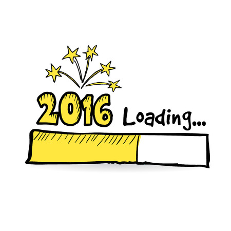 2016 loading bar with fireworks, new year, anniversary or party concept, vector illustration sketch Illustration