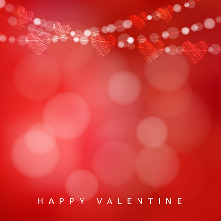 banner background: Valentines day card with garland of lights and hearts, vector illustration background