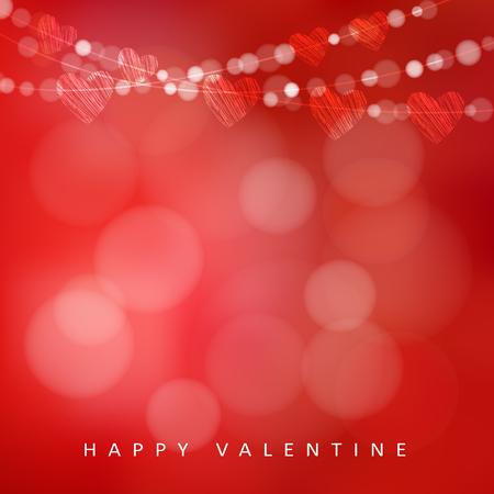 Valentinstag-Karte mit Kranz von Lichtern und Herzen, Vektor-Illustration Hintergrund Standard-Bild - 49852665