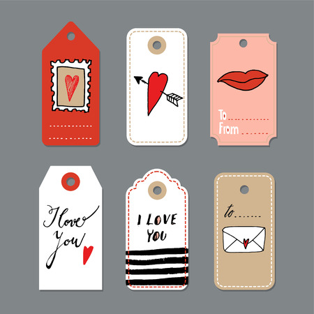 handwritten: Set of cute hand drawn Valentines day cards, gift tags, isolated vector objects