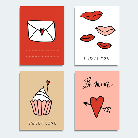 Set of cute hand drawn Valentines day cards, isolated vector objects