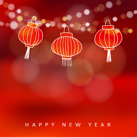 traditional festival: Chinese new year card with hand drawn paper lanterns and lights, vector illustration background