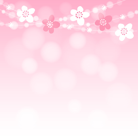 Cute spring card with cherry tree blossoms garland and lights, pink vector illustration background