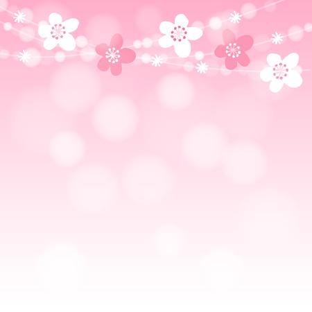 Roztomilý jarní karta s třešeň květy věnec a světla, vektorové ilustrace růžové pozadí