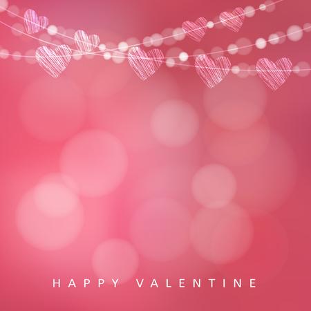 Valentinstag-Karte mit Kranz von Lichtern und Herzen, Vektor-Illustration Hintergrund