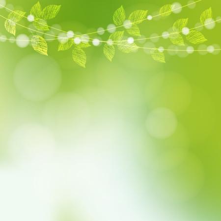 spring green: Spring  background with  leaves and bokeh lights, vector illustration Illustration