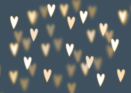 heart abstract: Abstract background with golden heart shaped bokeh lights, love concept Stock Photo