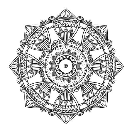 Ornamental hand drawn inspired mandala, line art, black white illustration Illustration