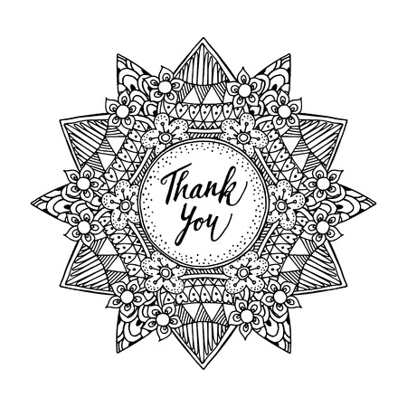 Ornamental greeting card with hand drawn inspired mandala and thank you text, line art, black white illustration