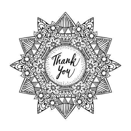 blanco negro: tarjeta de felicitación ornamental con dibujado a mano mandala inspirada y gracias texto, gráficos de línea, la ilustración en blanco y negro
