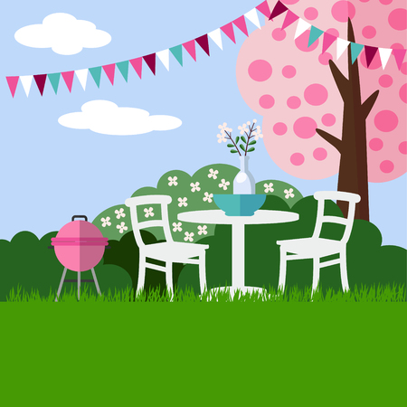 garden furniture: Spring garden party barbecue background with blossoming cherry tree, flat design, illustration