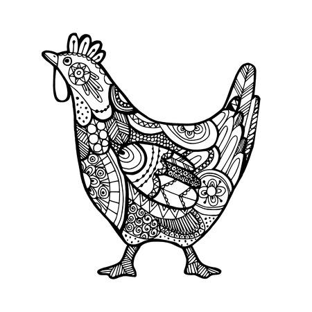 Easter greeting card with inspired ornamental illustration of hen, line art Illustration