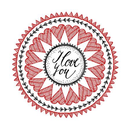 wedding love: Ornamental Valentines day or wedding card with hand drawn inspired mandala, love concept, line art, illustration