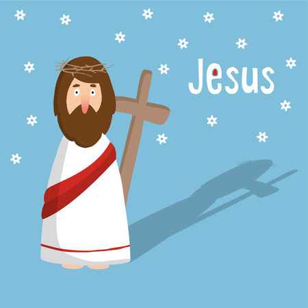 evangelical: Easter greeting card, invitation with Jesus Christ and cross, illustration background, flat design