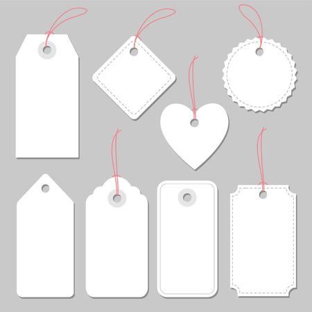 Set of blank vintage frames, tags and labels, isolated.