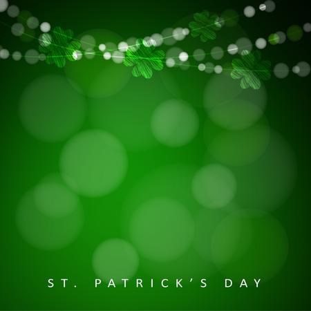 st patricks party: St. Patricks day background with garland of lights and shamrocks, illustration