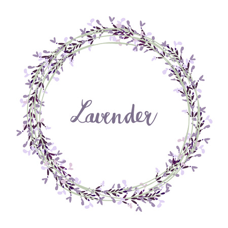Hand drawn lavender wreath, illustration background Vettoriali