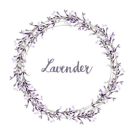 Hand getrokken lavendel krans, illustratie achtergrond Stock Illustratie