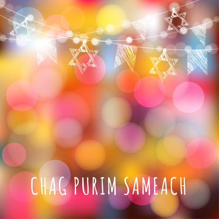 holiday garland: Chag Purim greeting card with garland of lights and jewish stars, jewish holiday concept, iluustration background