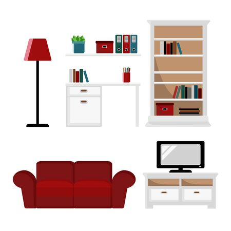 classic living room: Set of furniture icons, flat design, isolated objects
