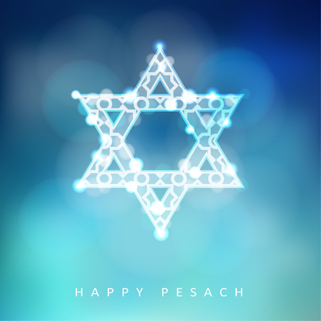 Jewish holiday Passover greeting card with ornamental glittering jewish star, illustration background