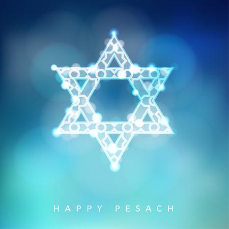 estrella de david: tarjeta de felicitación de la Pascua judía con brillantes ornamentales estrella judía, la ilustración de fondo Vectores
