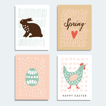 cartoon egg: Set of  spring, easter cards with artistic textured background, illustrations
