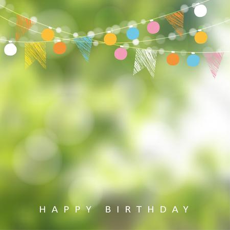 invitación a fiesta: fiesta en el jardín de cumpleaños o fiesta de junio de Brasil, la ilustración con la guirnalda de luces, banderas del partido y fondo borroso