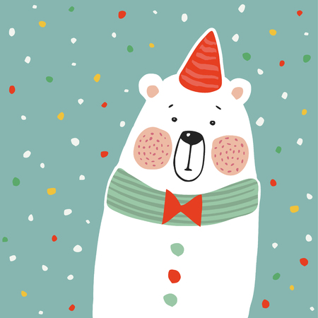 Cute polar bear with party hat and paper. confetti, kids poster or birthday greeting card