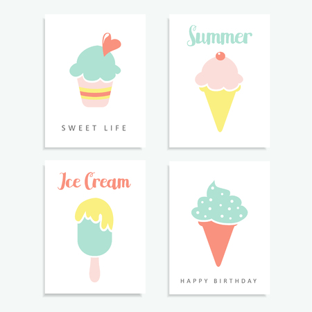ice cream sundae: Set of summer cards  with ice cream, sundae, in pastel colours, illustrations