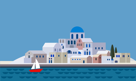 Mediterranean landscape by sea, Greek island with little town, village, resort, beach, flat design, illustration