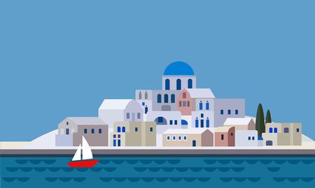 Středomořské krajiny po moři, řecký ostrov s malým městem, vesnici, letovisko, pláž, plochý design, ilustrace